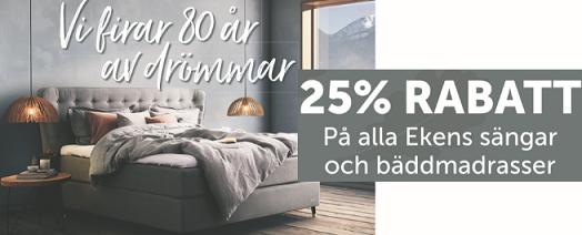25 % rabatt på alla Ekens sängar och bäddmadrasser